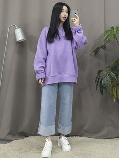 Look at these street korean fashion 1021 Korean Girl Fashion, Korean Fashion Trends, Korean Street Fashion, Ulzzang Fashion, Korea Fashion, Asian Fashion, Purple Fashion, Cute Fashion, Look Fashion