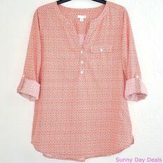 J Jill Shirt Cotton Floral Roll Tab Long Sleeve Petite Tunic Orange Boho Top S #JJill #Tunic #Versatile