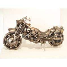 Metal motorbike sculpture created by visual artist Giannis Dendrinos. Metal engine parts and scrap metal. Motorcycle Gifts, Motorcycle Art, Metal Art Sculpture, Modern Sculpture, Gifts For Art Lovers, Lovers Art, Plastic Art, Metal Artwork, Motorbikes