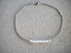 White Pearl and Silver Chain Anklet by DesignsbyPattiLynn on Etsy, $30.00