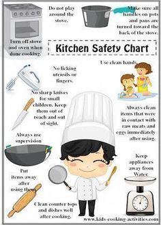Cooking with Kids- Kitchen Safety Chart by Debbie Madson Kids Cooking Activities, Cooking Classes For Kids, Cooking School, Kids Meals, Cooking With Kids Ideas, Kids Cooking Party, Cooking With Toddlers, Preschool Cooking, Baking Classes