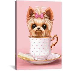 Icanvas Yorkie In A Teacup Canvas Art - Multiple Colors - Multi (100 CAD) ❤ liked on Polyvore featuring home, home decor, wall art, colorful wall art, canvas wall art, canvas home decor, colorful home decor and colorful canvas wall art