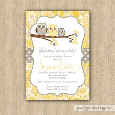 60 best yellow and grey baby shower idea images on pinterest baby owl baby shower invitations diy printable invitations sue collection filmwisefo