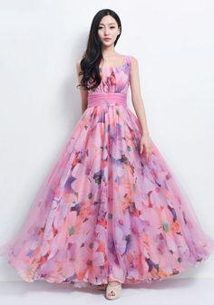 Elegant pink floral a Line swing long dresses. Frock Fashion, Indian Fashion Dresses, Indian Gowns Dresses, Dress Indian Style, Long Gown Dress, Lehnga Dress, Long Dresses, Swing Dress, Long Skirt Outfits