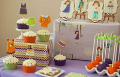 Dress Up Treats...love the cupcake toppers and the egg plate to hold cake pops...clever!!!