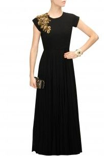 Black floral sequins embroidered gown