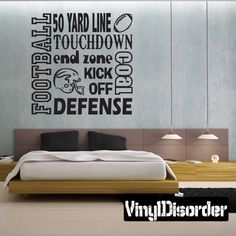 50 yard line Touchdown Football Wall Decal - Vinyl Decal - Wall Quote - Mv001
