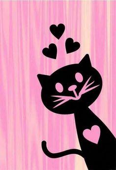 Todos los gatos tienen un corazón muy amoroso ♥♥♥ - Katzen - Cat Wallpaper, Wallpaper Backgrounds, Image Chat, Cat Quilt, Cat Drawing, Pretty Wallpapers, Crazy Cats, Rock Art, Cat Art