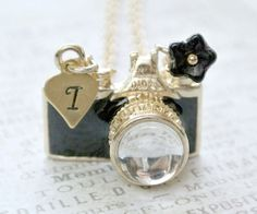 Black Camera NecklacePersonalized Initial by iceblues on Etsy, $22.00