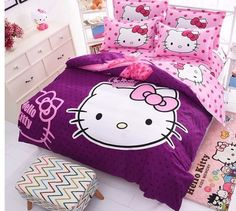Hello Kitty Bedding Sets Kids 4Pc Duvet Cover Bed Sheet  Twin Full Queen Size