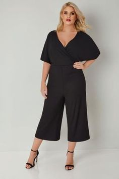 Black Jersey Cropped Culotte Wrap Front Jumpsuit, plus size 16 to 32 Short Jumpsuit, Black Jumpsuit, Plus Size Fashion, High Fashion, Culotte Shorts, Wrap Style, Uk Online, Size 16, Going Out