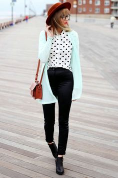 Opt for a mint open cardigan and black silk skinny pants for a glam and trendy getup. A cool pair of black leather ankle boots is an easy way to upgrade your look.  Shop this look for $153:  http://lookastic.com/women/looks/hat-long-sleeve-blouse-open-cardigan-crossbody-bag-skinny-pants-ankle-boots/4516  — Tobacco Wool Hat  — White and Black Polka Dot Long Sleeve Blouse  — Mint Open Cardigan  — Tobacco Leather Crossbody Bag  — Black Silk Skinny Pants  — Black Leather Ankle Boots