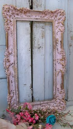 Large ornate vintage frame pink accented gold by AnitaSperoDesign