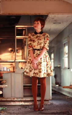 Hgaaaaah I loooOoOOoooOve this---- Mushroom print dress w/ a Peter Pan collar...need I say more<3