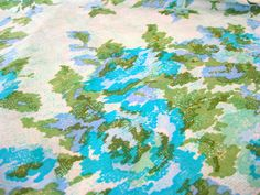 """Excited to share the latest addition to my #etsy shop: Vintage Fabric - Gorgeous Cohama Hand Print Silk - 130"""" (3.6 yards long) x 46""""W - 60's - material - textile - sewing supply - Retro http://etsy.me/2CRH9jN #supplies #blue #sewing #silk #green #fashionapparel #curta"""