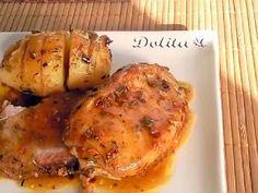 LOMO AL HORNO CON SALSA DE PIÑA Grubs, Food To Make, Pork, Chicken, Meat, Cooking, Recipes, Norman, Cast Iron