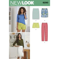 Items similar to New Look 6290 UNCUT Misses' Shorts, Skirt in Two Lengths and Slim Pants Sewing Pattern Sizes 4 - 16 on Etsy New Look Patterns, Simplicity Sewing Patterns, Easy Patterns, New Look Skirts, Short Skirts, Mini Skirts, New Look Women, Slim Pants, Pants Pattern