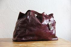 Francesco Biasia wine leather tote