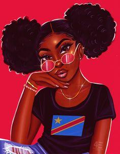congolese babe - yellow Mini Art Print by foreverestherr Black Love Art, Black Girl Art, Black Girls Rock, Black Girl Magic, Black Art Painting, Black Artwork, Drawings Of Black Girls, Black Girl Cartoon, Female Cartoon