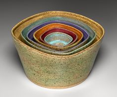 I love the shape and glazing of these bowls! Alexandra Geller, Ceramic Arts  Nesting bowls