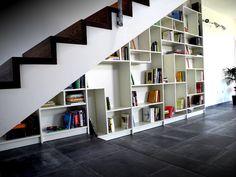 understairs-storage-billy-ikea - Home Decorating Trends - Homedit Staircase Bookshelf, Cheap Bookshelves, Stair Shelves, Bookshelf Design, Billy Bookcases, Book Shelves, Bookshelf Ideas, Ikea Storage, Stair Storage