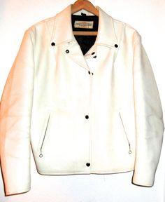 Vintage 70s era white leather Harley Davidson Motorcycle jacket patch biker bomber by sweetalicelovesyou on Etsy