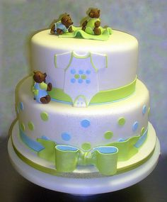Teddy Bear Boy Baby Shower Cake
