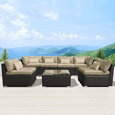 Amazon.com : Modenzi 7G-U Outdoor Sectional Patio Furniture Espresso Brown Wicker Sofa Set (Light Beige) : Patio, Lawn & Garden