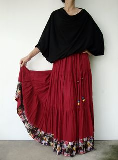 NO.25 Deep Red Cotton, Hippie Gypsy Boho Tiered Long Peasant Skirt