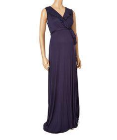 Navy Empire-Waist Ruffle Maternity Maxi Dress #zulily #zulilyfinds