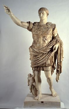 The Augustus of Prima Porta, believed to have been commissioned in 15 A.D. by Augustus' adopted son Tiberius, is a majestic example of Imperial Roman statuary.