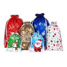 Cabilock 30pcs Christmas Drawstring Bags Holiday Treats Bags Gift Wrapping Bags Christmas Party Favor Goody Bags Christmas Party Favors, Christmas Bags, Goodie Bags, Treat Bags, Christopher Radko Ornaments, Theme Noel, Holiday Treats, Goodies, Wraps