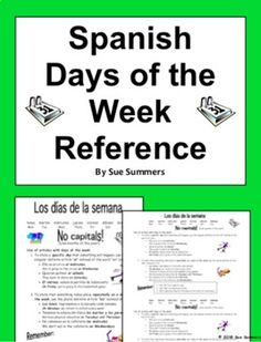 Spanish Days of the Week Reference - Los Días de la Semana by Sue Summers Colorful Bulletin Boards, Spanish Greetings, Spanish Speaking Countries, Classroom Signs, Word Search Puzzles, Spanish Vocabulary, Crossword Puzzles, How To Speak Spanish, Back To School
