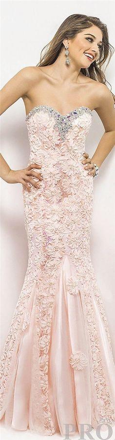 Sweetheart crystal floral nude pink chiffon mermaid prom dress