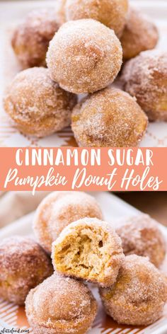 fall recipes These homemade Cinnamon Sugar Pumpkin Donut Holes are sugar, spice, and absolutely nice! Baked Pumpkin Donut Holes are such a quick and easy fall dessert, and would make a perfect fall breakfast recipe! Fall Dessert Recipes, Köstliche Desserts, Delicious Desserts, Breakfast Recipes, Yummy Food, Healthy Pumpkin Desserts, Easy Fun Desserts, Pumpkin Deserts, Cinnamon Desserts