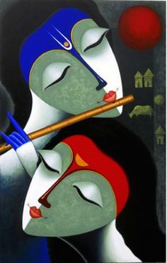 "Beautiful Indian canvas paintings available at IndianArtCollectors.com! ""Rhythm Of Love V"" by Santosh Chattopadhyay Acrylic On Canvas,"