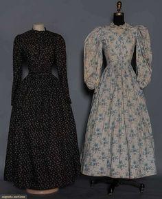 2 Printed Cotton Dresses, Augusta Auctions, May 2015 - Sturbridge, MA, Lot 1052 Clothing And Textile, Antique Clothing, Historical Clothing, Historical Dress, Historical Costume, 1890s Fashion, Victorian Fashion, Vintage Fashion, Farm Clothes