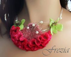 Lushly textured celosia necklace. Designed by Frezia.