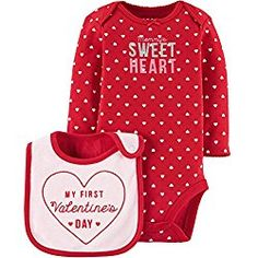 0986f0900 Child of Mine by Carters Baby Girls First Valentines Day Long Sleeve  Bodysuit with Bib (