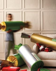 The perfect solution for hard-to-wrap, bulky presents: an oversize Christmas cracker
