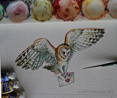 Barn Owl  Delivery Owl Watercolor by jodyvanB on Etsy