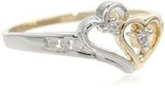 14k Two-Tone Diamond Heart Ring (1/10 cttw, H-I Color, I2-I3 Clarity), Size 7  http://electmejewellery.com/jewelry/rings/14k-twotone-diamond-heart-ring-110-cttw-hi-color-i2i3-clarity-size-7-com/