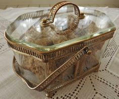 {Antique French Gilt Metal & Glass Biscuit Box with Handle}