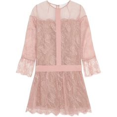 Chloé Silk-organza and lace mini dress ($1,385) ❤ liked on Polyvore featuring dresses, pastel pink, short lace dress, lace cocktail dress, short dresses, mini dress and short pink dress