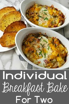 Individual Breakfast Bake gives you a hearty and satisfying breakfast, lunch, or dinner for two with eggs, bacon and cheesy crisp hash browns O'Brien all in convenient individual dishes. Breakfast Egg Bake, Baked Breakfast Recipes, Savory Breakfast, Breakfast For Dinner, Breakfast Dishes, Best Breakfast, Brunch Recipes, Breakfast Casserole, Breakfast Ideas With Eggs