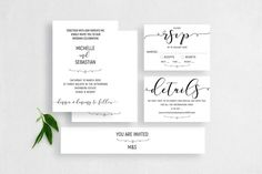 Printable Wedding Invitation Set Modern Simplicity MSL101 | Etsy Printable Wedding Invitations, Text Tool, Minimal Design, Card Sizes, Rsvp, Place Card Holders, Printables, Lettering