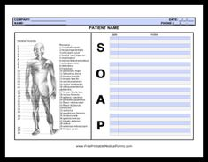 This SOAP note page is ideal for health care professionals who also need to visually mark information about the body, such as masseuses or physical therapists. Muscles can be easily circled or highlighted and referenced in the notes section. Free to downl Nerd Fitness, Fitness Motivation, Massage Room, Massage Therapy, Massage Intake Forms, Soap Note, Massage Quotes, Fitness Models, Craniosacral Therapy