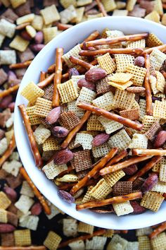 Salt 'n Vinegar Snack Mix Recipe on twopeasandtheirpod.com This easy snack mix is great for parties, game day, or any day!