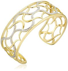 """18k Yellow Gold Plated Sterling Silver Two-Tone Filigree Cuff Bracelet, 7.25"""" Amazon Collection http://www.amazon.com/dp/B00H37WVT6/ref=cm_sw_r_pi_dp_VVhYwb0NWV2HQ"""