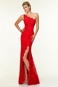 2015 Sheath Prom Dresses One-Shoulder Beaded Lace Floor-Length Zipper Back